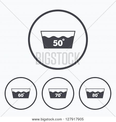 Wash icons. Machine washable at 50, 60, 70 and 80 degrees symbols. Laundry washhouse signs. Icons in circles.