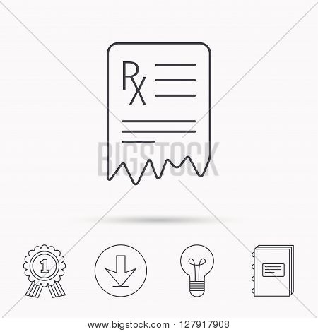 Medical prescription icon. Health document sign. Download arrow, lamp, learn book and award medal icons.