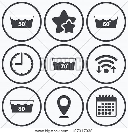 Clock, wifi and stars icons. Wash icons. Machine washable at 50, 60, 70 and 80 degrees symbols. Laundry washhouse signs. Calendar symbol.