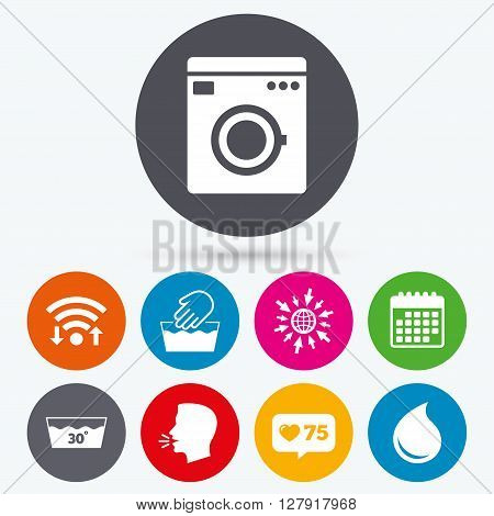 Wifi, like counter and calendar icons. Hand wash icon. Machine washable at 30 degrees symbols. Laundry washhouse and water drop signs. Human talk, go to web.