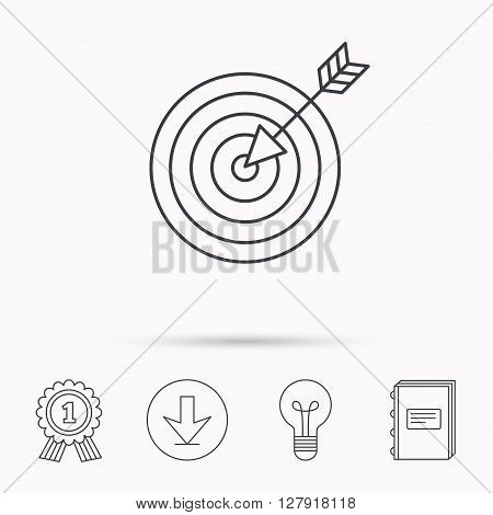 Target with arrow icon. Dart aim sign. Download arrow, lamp, learn book and award medal icons.