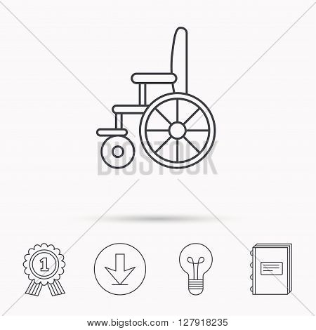 Wheelchair icon. Disabled traffic sign. Download arrow, lamp, learn book and award medal icons.
