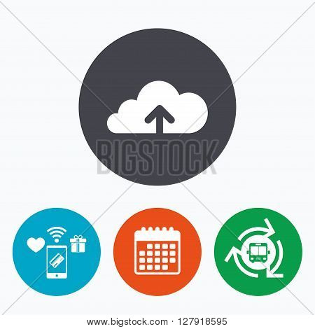Upload from cloud icon. Upload button. Load symbol. Mobile payments, calendar and wifi icons. Bus shuttle.