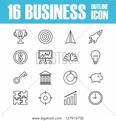 set of business outline ico isolated on white background