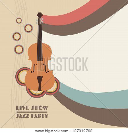retro violin poster vintage style, pastel tone