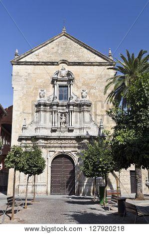 Facade of the baroque Church of Saint Francis and Saint Eulogius in Cordoba Spain