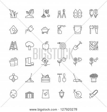 Thin line icons set. Flat symbols about gardening