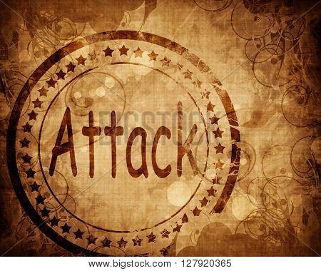 Attack stamp on grunge background