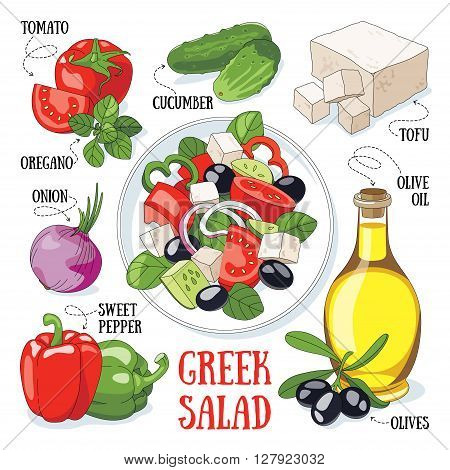 Greek salad and its ingredients. Mediterranean traditional cuisine.