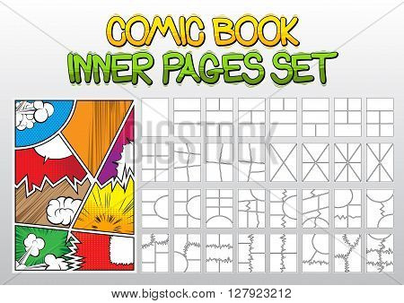 Comic book inner pages set, thirty-two blank and one with various symbols and sound effects.