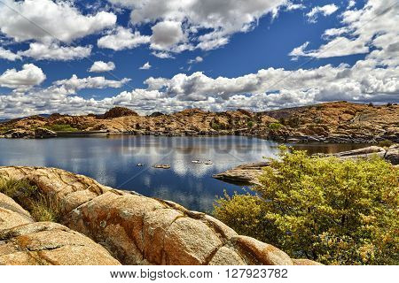 Willow Lake Prescott Arizona in boulders showing water line on rocks