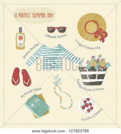 Vector set of summer clip-art. Clothes and accessories such as summer hat, beach bag, step-ins, sunglasses, books and sunblock. Hand drawn and textured.