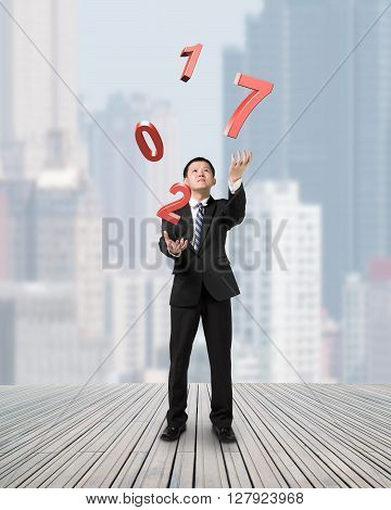 Businessman Catching Throwing 2017 Red Words