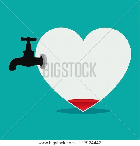 Blood in heart and faucet , abstract illustration and concept