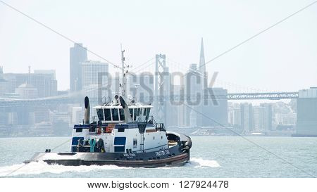 Tugboat Ahbra Franco Heading Into The San Francisco Bay
