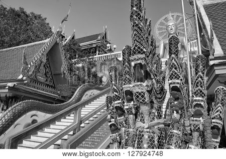 Famous Big Buddha religious monument at Koh Samui, Thailand. Black and white