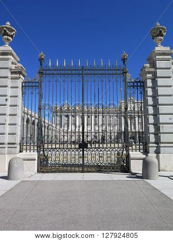 Madrid Spain April 8 2016: The Royal Palace is the official residence of the Spanish Royal Family in Madrid. Main entrance and internal square. Madrid Spain April 8 2016