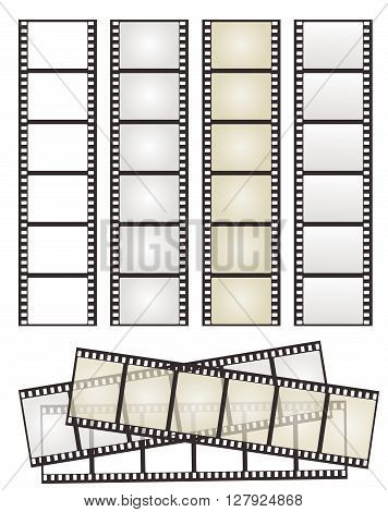 set of film strips with variation on white for Your design. vector illustration