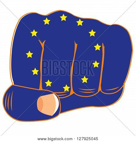 Vector illustration of the flag of the europe on fist of the person