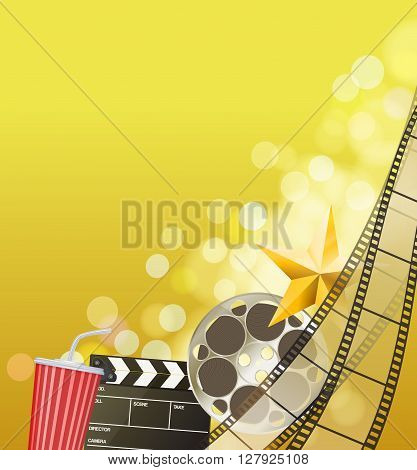 Cinema background with filmstrip golden star cup clapperboard on blurry blue background. vector