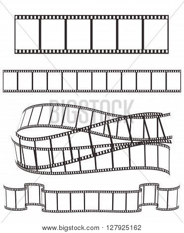 set of empty film strips on white for Your design. vector illustration