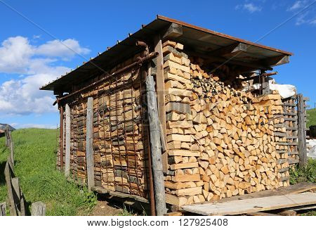 Logs Of A Woodpile In The Woodshed