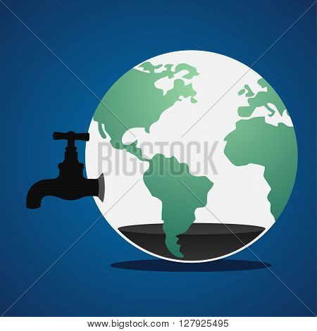 Faucet and green earth , energy resource in the world