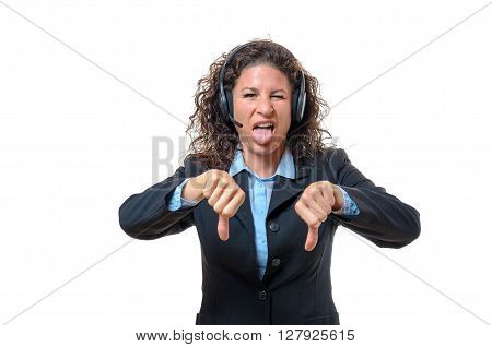 Young Businesswoman Signalling Her Disgust