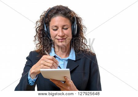 Smiling Secretary Or Receptionist Taking Notes