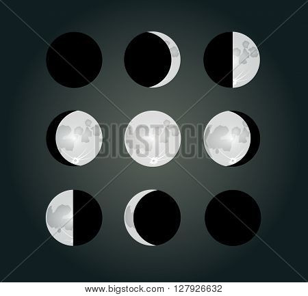 Moon phases on a dark background. EPS10 vector illustration
