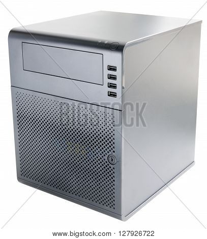 Compact desktop server isolated on the white background