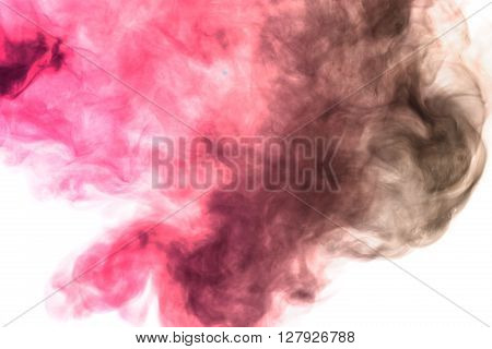 Abstract art. Crimson hookah smoke on a white background. Inhalation. The steam generator. The concept of poison gas. Gaseous.
