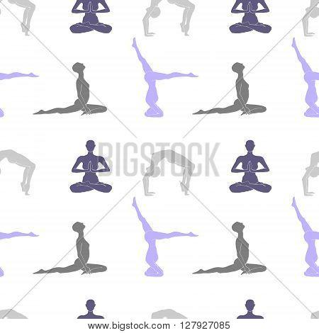 Yoga poses seamless pattern. Yoga silhouettes on white background.