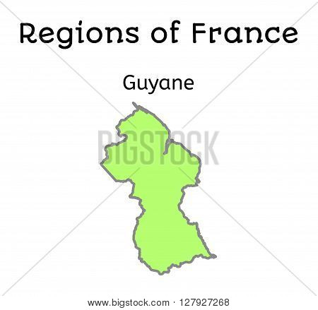 France administrative map of French Guiana region on white