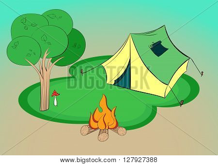 Summer hiking - vector illustration with tent, tree and campfire.