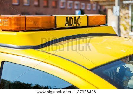 NEUBRANDENBURG/ GERMANY - 1 MAY 2016: an ADAC breakdown service car stands on a street in Neubrandenburg Germany at 1. may 2016.