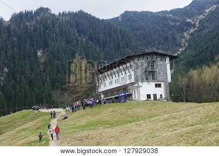 ZAKOPANE POLAND - APRIL 23 2016: Mountain hotel in the Polish Tatra Kalatowki on 23 April 2016 in Zakopane Poland. It is a popular tourist destination for a trip because the area is beautiful