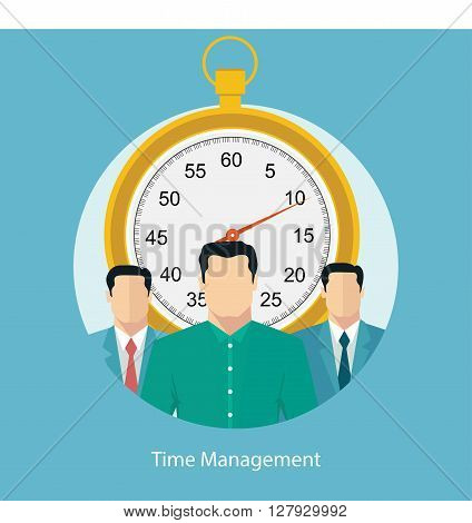 Vector illustration of time management concept with stopwatch