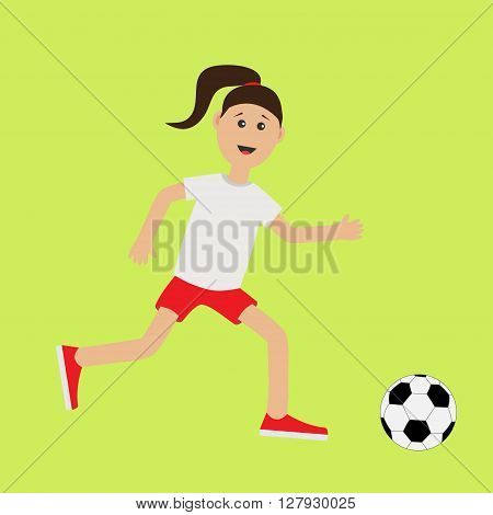 Funny cartoon running girl with soccer ball. Football player. Cute run woman Runner Fitness workout running female character Green background. Flat design Vector illustration