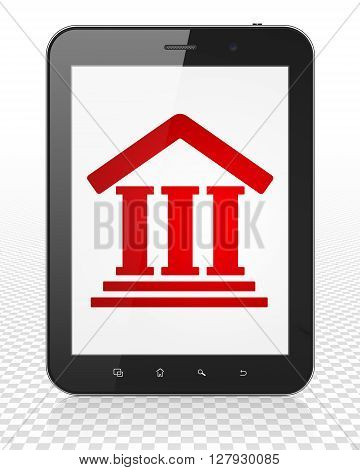 Law concept: Tablet Pc Computer with red Courthouse icon on display, 3D rendering