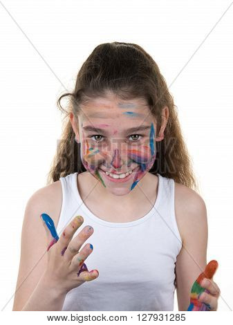 Portrait Of Young Girl Messed With Color Paint