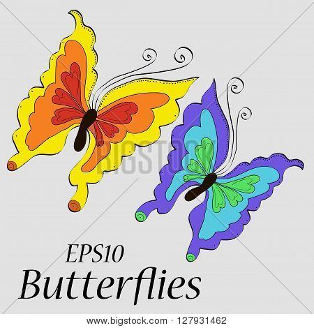 Beautiful butterflies of different colors drawing, pattern, eps10, vector, simpotichno  nice card, congratulation, miracle, summer