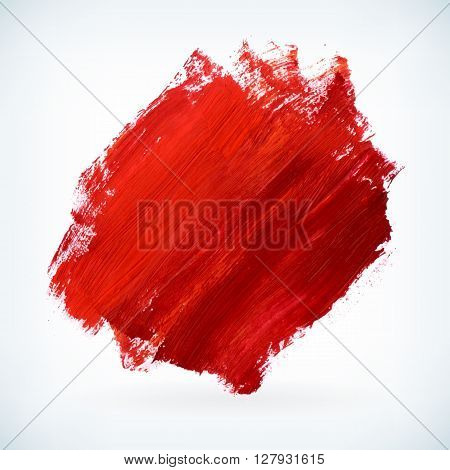 Red paint artistic dry brush stroke. Watercolor acrylic hand painted backdrop for print web design and banners. Realistic vector background texture