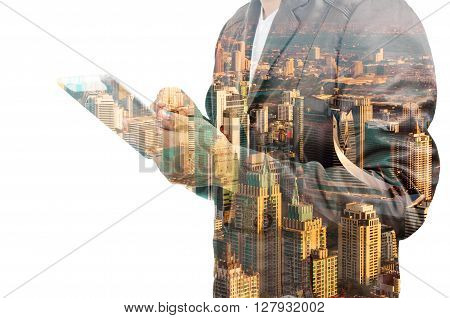 Ddouble Exposure Of A Businessman And A City Using A Tablet Over White Background