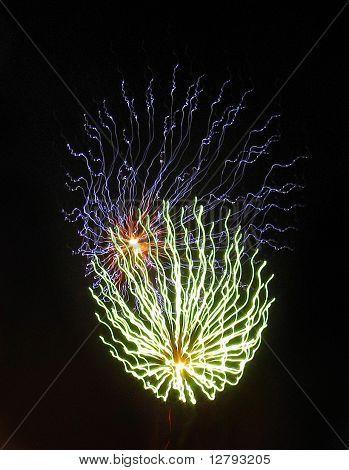 Fireworks on a black sky.