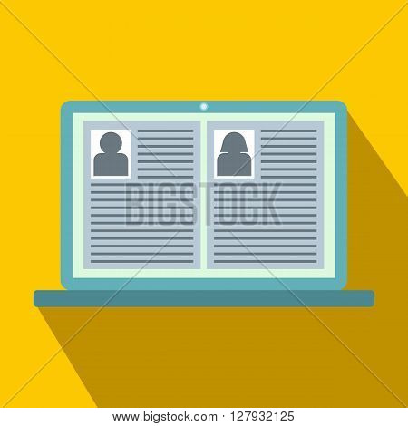 Job candidates icon in simple style icon in flat style on a yellow background