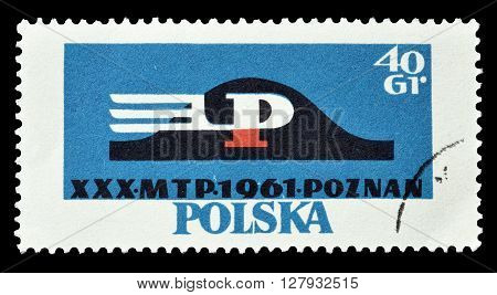 POLAND - CIRCA 1961 : Cancelled postage stamp printed by Poland, that shows Emblem of Poznan.