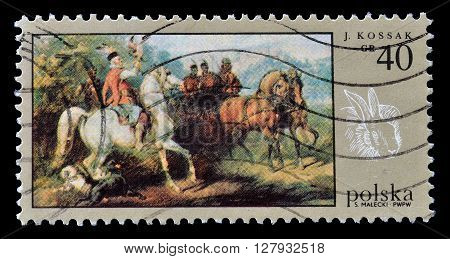 POLAND - CIRCA 1968 : Cancelled postage stamp printed by Poland, that shows painting by Kossak.