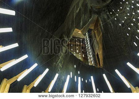 Salt Mine Gallery View Salina Turda in Romania