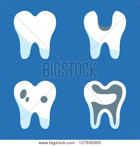 Vector black teeth icons set on blue background. Tooth icon dental signs.